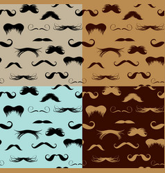 seamless pattern with mustache on different colors vector image