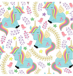 Seamless pattern with unicorn and bird vector