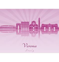 Verona skyline in purple radiant orchid vector image vector image