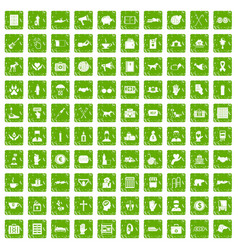 100 donation icons set grunge green vector