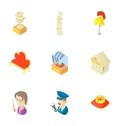 Historical museum icons set cartoon style vector