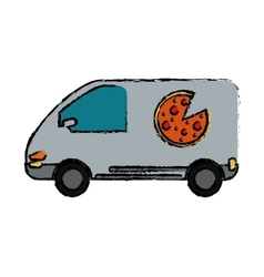 Pizza delivery car van service drawing vector