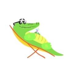 Crocodile sunbathing on sunbed with cocktail vector