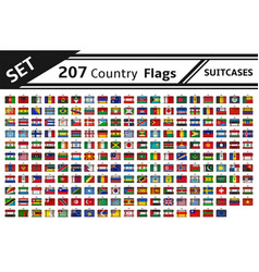 Set 207 country flags suitcases vector