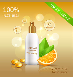 Natural cream with vitamin c vector