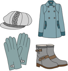 Winter clothes collection vector