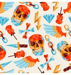Seamless background with skull and elements vector