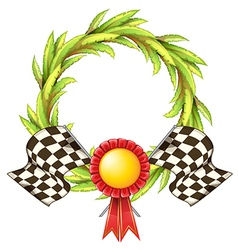 A ribbon with two racing flags vector