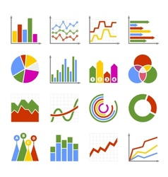 Business graph and diagram icons set vector