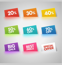 Set of colorful sale labels in pocket vector