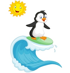 Happy penguin cartoon surfing vector image