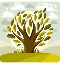 Art graphic of stylized tree and peaceful la vector