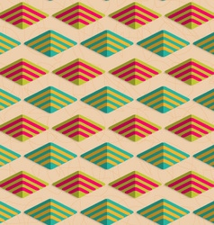 Retro fold rounded striped diamonds vector