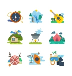 Hiking camping flat icons collection vector
