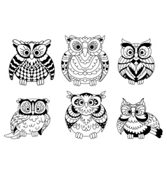 Cartoon colorless great horned owls birds vector