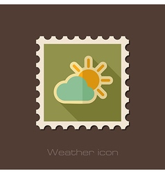 Sun and cloud flat stamp meteorology weather vector