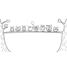 Funny owls sitting on a tree branch vector