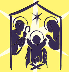 Baby jesus in a manger abstract vector