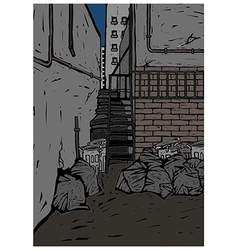 Back alley scene vector
