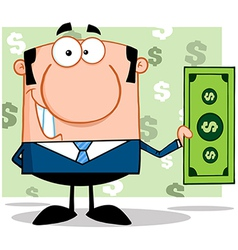Banker with currency exchange vector