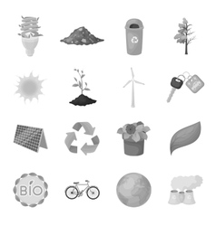 Bio and ecology set icons in monochrome style big vector