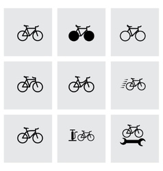 black bicycle icon set vector image