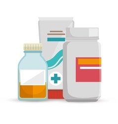 bottle medicine container cream care icons vector image