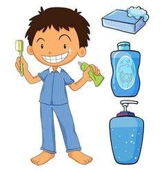 Boy in pajamas brushing teeth vector image vector image