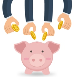 Business hands together putting money with piggy vector