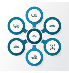 Car outline icons set collection of car carcass vector