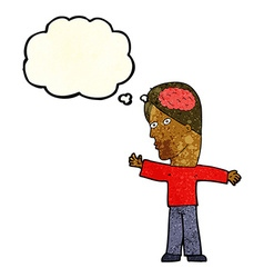 cartoon man with brain with thought bubble vector image vector image