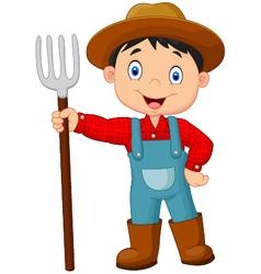 Cartoon young farmer holding rake vector
