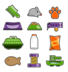 cat object icon set vector image