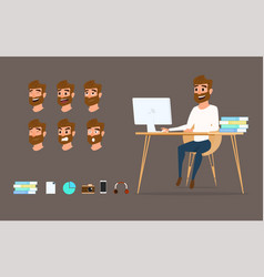Character design businessman working on desktop vector