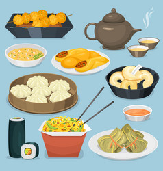 Chinese tradition food dish delicious cuisine asia vector