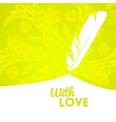 Colorful flower background with feather vector image vector image