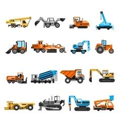 Construction machines icons set vector