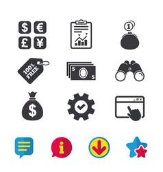 Currency exchange icon cash money bag wallet vector