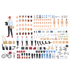 Delivery man creation set or building kit bundle vector