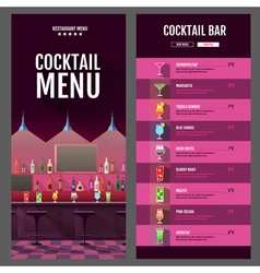 Flat style cocktail menu design with bar interior vector