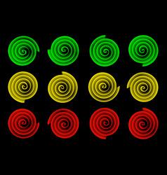 Four street lights on black background vector