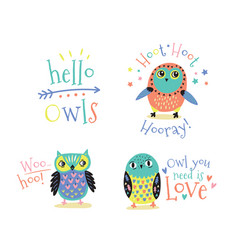hand drawn symbols icons with owls vector image