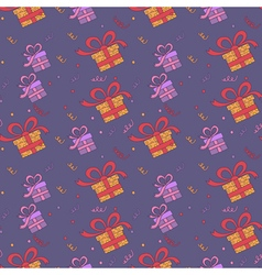 Happy birthday seamless pattern with presents vector