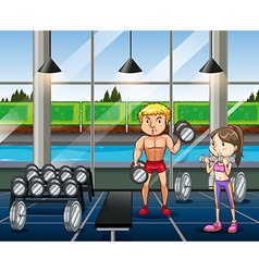 Man and woman working out in the gym vector