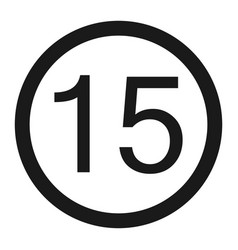 Maximum speed limit 15 sign line icon vector