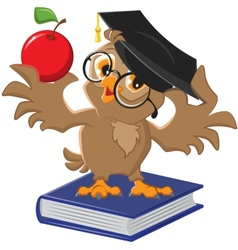 Owl holding an apple vector image vector image