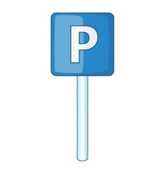 Parking sign icon cartoon style vector