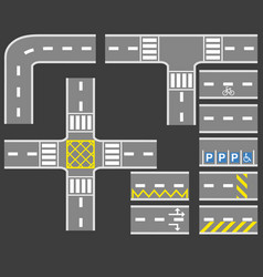 road with white line collection set vector image vector image