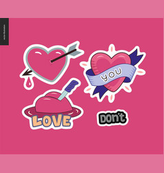 set of contemporary girlie love letter logo vector image vector image