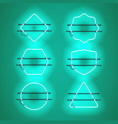 Set of realistic glowing blue neon frames vector